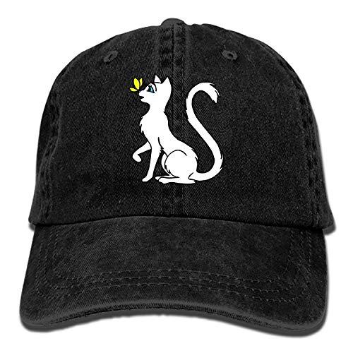 Denim Fabric Adjustable Lovely White Lady Cat Vintage Cowboy Cap