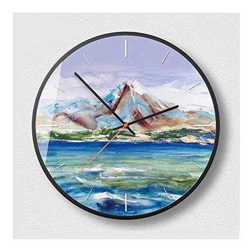 ZXCVB Reloj de pared de cuarzo 3D de 30,5 cm / 35,5 cm / 35,5 cm con pintura al óleo silenciosa y redonda para dormitorio (color: verde, tamaño de la hoja: 35,5 cm Shell Black)