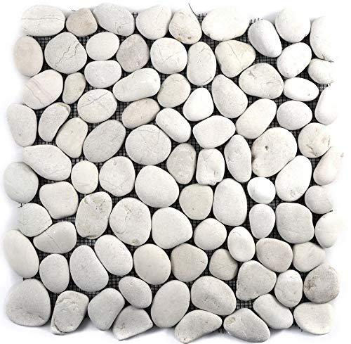 Mosaik Fliese Flußkiesel Steinkiesel Kiesel weiß cream gewölbt Stich für WAND BAD DUSCHE KÜCHE FLIESENSPIEGEL THEKENVERKLEIDUNG BADEWANNENVERKLEIDUNG Mosaikmatte Mosaikplatte | 10 Mosaikmatten