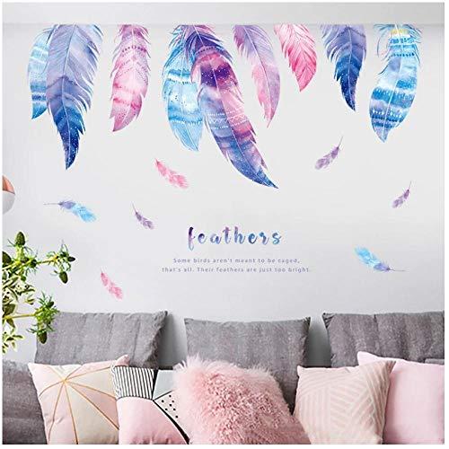 KBIASD Decoración de la casa de plumas románticas pegatinas de pared de plumaje colorido para habitación de niños decoración del hogar de moda arte PVC vinilo calcomanías de pared 120x95cm