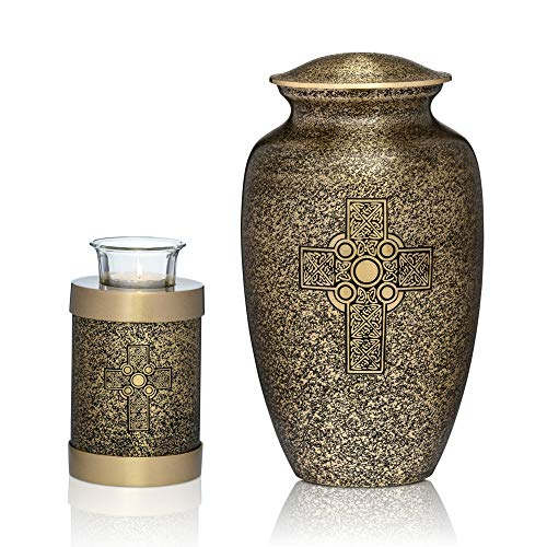 Large Urn for Human Ashes | Brass Urn with Matching Brass Tealight Urn | Premium Quality Brass Cremation Urns to Honor Your Loved One