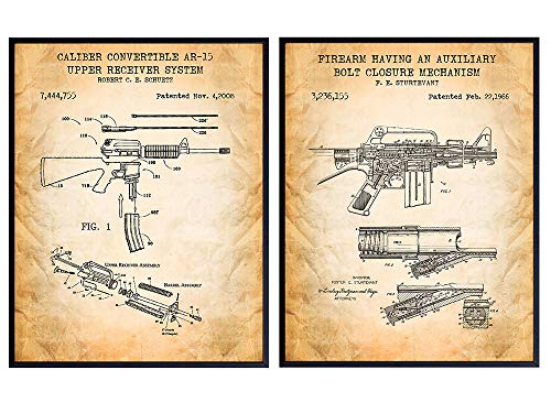 Original M16, AR-15 Patent Print Set - Weapon Wall Decor Posters - Gift for Gun, 2nd Amendment, NRA, Military, Firearms, Rifle Fans - Home Art for Man Cave, Office, Living, Game or Family Room
