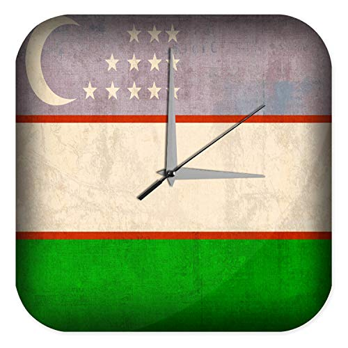Wanduhr mit geräuschlosem Uhrwerk Dekouhr Küchenuhr Baduhr Abenteurer Wand Deko Usbekistan Flagge Dekouhr Vintage