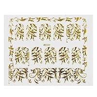 デザイナーネイルステッカー - 1PCSゴールドブロンズ3Dネイルステッカーフラワーメタリック美容ネイルアートの装飾マニキュア爪デカールDIYのヒントを貼り付け .デザインパーソナライズされたネイルステッカー (Color : 9)