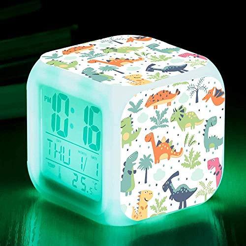 HUIQ Reloj Despertador Digital de Dinosaurio para niños LED Night Glowing Cube Reloj LCD con luz Reloj de cabecera para niños Regalos de cumpleaños para niños Dormitorio de Adultos