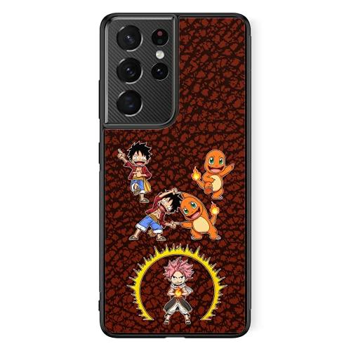 Coque de Smartphone Samsung Galaxy S21 Ultra de Couleur (Noire) - Parodie One Piece - Pokémon - Fairy Tail - Natsu, Monkey D Luffy et Salamèche - Une Fusion de feu(Coque de qualité supérieure - impr