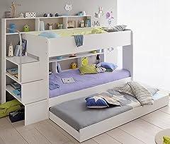 90x200 Kinder Etagenbett Weiß grau mit
