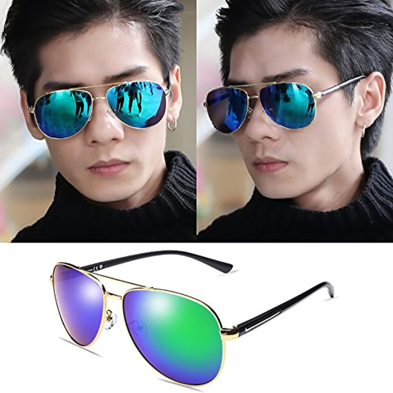 Polarized sunglasses, driver sunglasses, beach tourist glasses, men and women glasses, reflective refracting mirrors, tidal sunglasses,,golden framed ice green