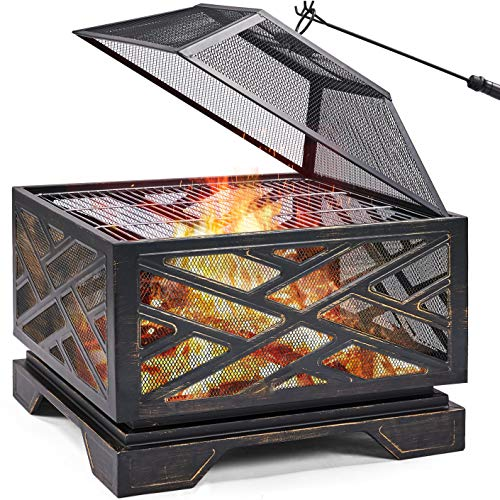 Topeakmart 32 Inch Outdoor Fire Pit Iron Square Wood Burning Fireplace Backyard Firepit for Patio BBQ Camping Bonfire with Mesh Cover Grills Poker Bronze
