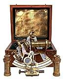 Hanzla Collection Maritime Kelvin & Hughes London Antique Brass Nautical Ship Sextant with Extra 2 Telescope & Wooden Box