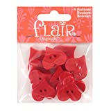 Blumenthal Lansing Buttons, Heart Shaped, Great for Sewing, Craft, Valentines Day Projects and More - Red