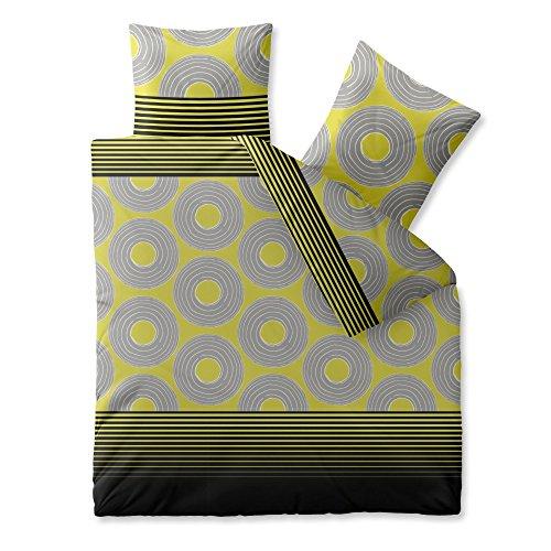 CelinaTex Harmony Bettwäsche 200 x 220 cm Mikrofaser Bettbezug Nadine Streifen Kreise Gelb Schwarz Grau