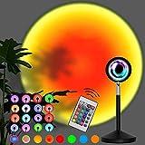 Sunset Aura - Lámpara de sol con mando a distancia, 16 colores