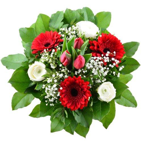 Blumenversand Frühlingsblumen - Blumenstrauß zum Geburtstag - Flower Power - mit roten Tulpen mit Gratis - Grußkarte zum Wunschtermin