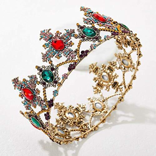 SWEETV Jeweled Barock Königin Krone, Strass Hochzeitskronen und Diademe für Frauen, Kostüm Party Haarschmuck mit Edelsteinen