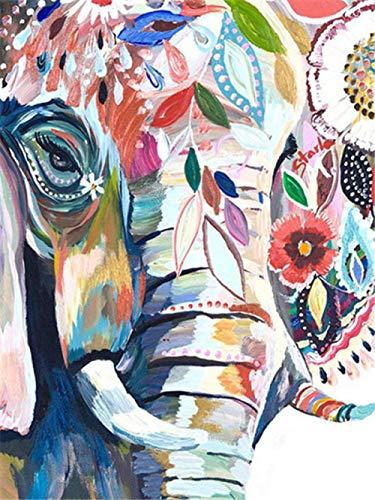 Diy Pintar por Numeros para Adultos Niños Pintura por Números con Pinceles y Pinturas Decoraciones para el Hogar -Elefante abstracto - Con marco-16x20 pulgadas