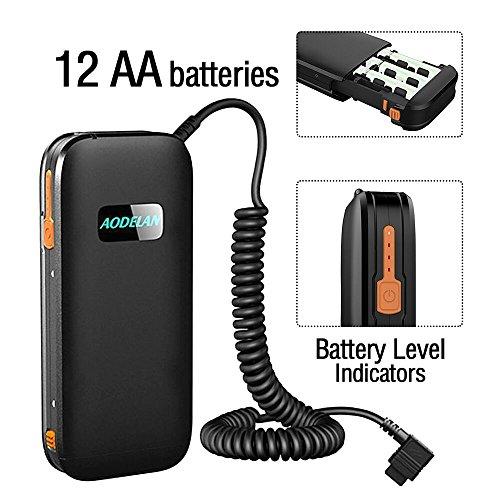 AODELAN External Flash Battery Pack Battery Power Bank for Canon 600EX II-RT, 600EX-RT, 580EX 580EX II, 550EX,MR-14EX?MR -24EX .Yongnuo & Godox Speedlite Replace CP-E4N & CP-E4 (12 AA Batteries)