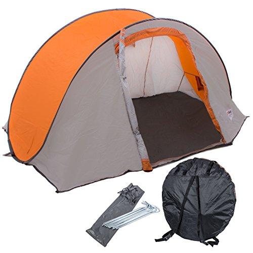 Reimo Tent Technology Wurfzelt für 2 Personen - Pop-Up mit Mini-Packmaß, 180x230x105 cm, 2,25 kg, grau-orange