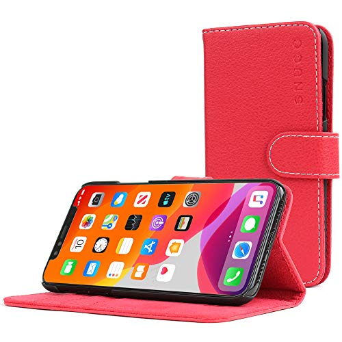 Snugg Schutzhülle für iPhone 11 (2019) – Etui aus Leder mit Kartenschlitzen & Ständer – Legacy-Kollektion, Flipcase, Handyhülle in Rot
