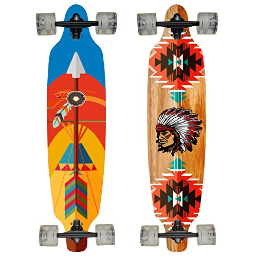 Hansson.Sports Top Longboard Komplett Skateboard Long Board 99cm (39 inch). 2 Motive zur Wahl (Motiv:Indianer)