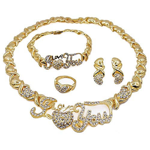 Women's Girls Hugs & Kisses Xo Xo Hearts 4 Pieces Jewelry Set I Love You Charm Includes Necklace Bracelet Ring Earrings #24