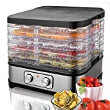 Kepteen Food Dehydrator, Electric Fruit Dehydrater Including 5 Stackable Trays, Digital Temperature Settings and Timer, Adjustable Space, Noiseless and BPA Free[US STOCK] (Black_2)