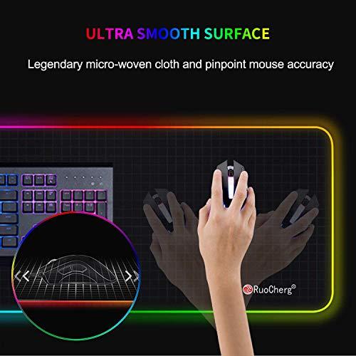 RuoCherg RGB Mauspad, 80 x 30 cm Gaming Mousepad mit 14 Beleuchtungs-Modi, Wasserdicht Anti Rutsch Mouse Matte für Computer PC Professionelle Gamer