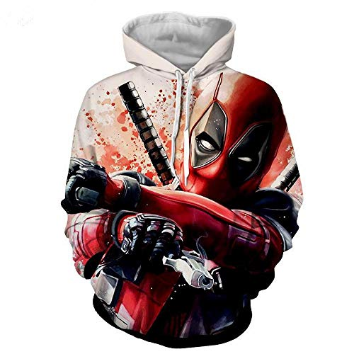 Wild WY Marvel Superhero Series Pullover Deadpool 3D Digitaldruck Paar Hoodie Cosplay Jacke Sweatshirt A-XL