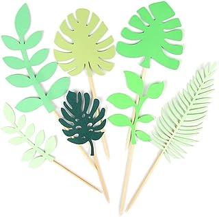 Lot de 14 décorations de gâteau avec feuilles tropicales et feuilles de palmier pour décoration de gâteau Motif jungle haw...