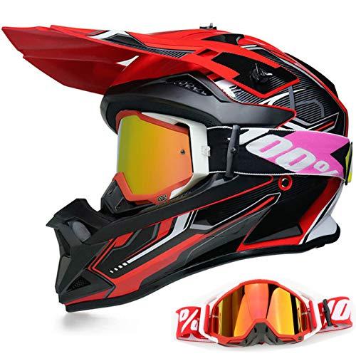 YASE Casco Motocross per Bambino/Adulto Sport Moto Cross Enduro Con Occhiali per Caschi ATV BMX Quad Cross Integrale Downhill DOT Omologato Ragazza Ragazzo Off-road (Nero Rosso,L (56-57CM))