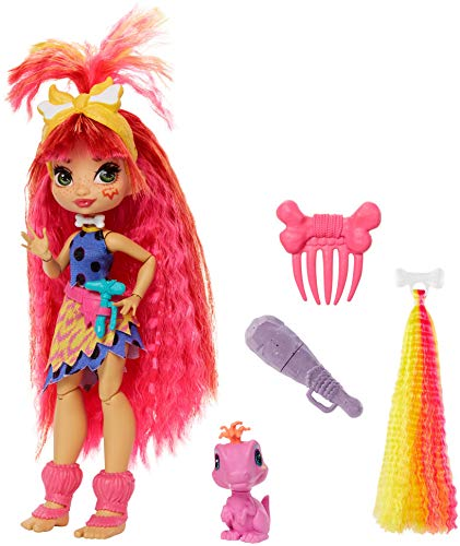 Mattel Cave Club Emberly Doll 8 – 10-inch, Pink Hair Poseable Prehistoric Fashion Doll with...