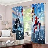 Meer 2er-Set Verdunkelungs Vorhang,Iron Man Spiderman Batman Kinder Gardinen Ösen Gardine Thermo Polyester Schlafzimmer Vorhänge Dekoratives Muster Européen 166 x 150 cm (HxB) - 3