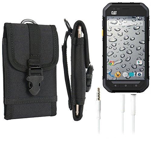 marsupio / custodia per Caterpillar Cat S30, nero + cuffie| cassa del telefono calotta di protezione Smartphone sacchetto esterno / campeggio - K-S-Trade (TM)