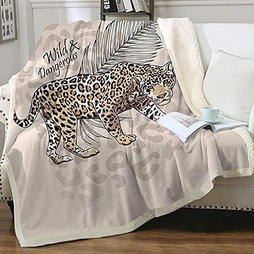 Manta de sherpa con diseño de guepardo y gato salvaje, súper suave, cómoda, de forro polar, reversible, color marrón y manta (127 x 152 cm)