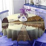 Tovaglia decorativa rotonda in legno Pier sul lago Serene Morning in the Woods Pesca Misty Ricreativa Immagine Calda Sensazione Diametro 109,2 cm Multicolore