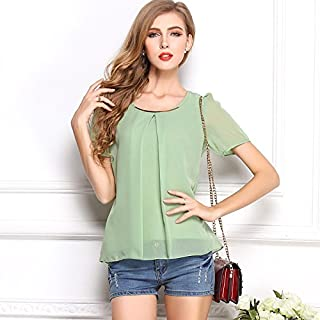 Summer Cool Short Sleeve Women Chiffon Blouse