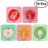 BESTOMZ 10 Teile/Paket Klebehaken Kunststoff Obst Muster Selbstklebend Handtuchhaken Mehrzwecke Wandhaken für Küche Badezimmer (Apfel, Orange, Wassermelone, Kiwi, Erdbeere)