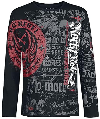 Rock Rebel by EMP Rock and Roll Dreams Come Through Hombre Camiseta Manga Larga Negro 3XL