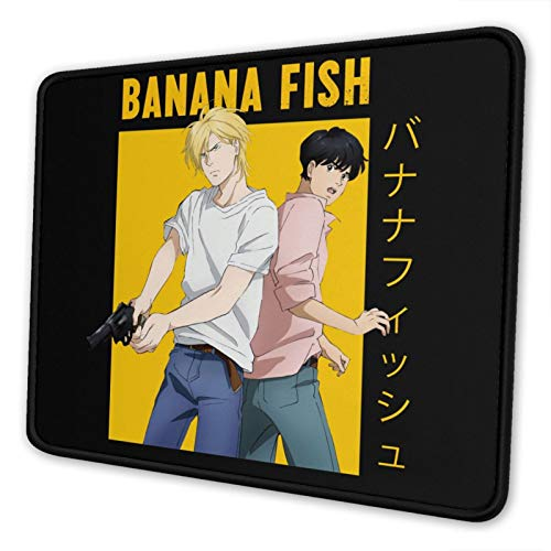 Banana Fish Mouse Pad Cartoons Gaming Mouse Pad Cute Anime Mouse Pad Non-Slip Computer Game Mouse Mat Large Mouse Pads 7.9 x 9.5 in