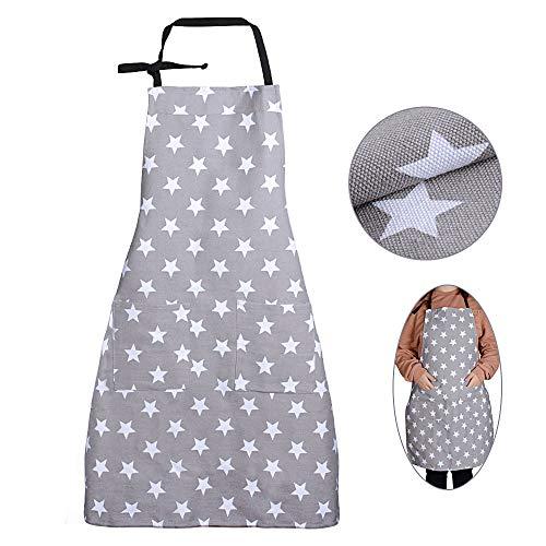 MEJOSER Sterne Schürze mit Tasche Verstellbare Kochschürze Küchenschürze Latzschürze Grill Bakcen Damen Schürze für Frauen Kochen Arbeit Hausarbeit (Grau)