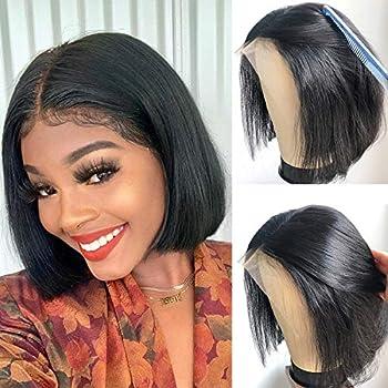 Short Bob Lace Front Wigs Human Hair 150% Density 13x4 Lace Frontal Wigs for Black Women Virgin Brazilian Human Hair Wigs with Baby Hair Natural Black Color