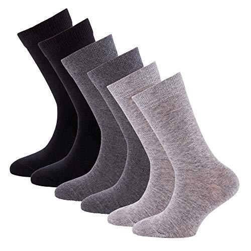 EWERS Kindersocken für Jungen & Mädchen, handgekettelt 6er Pack, MADE IN EUROPE, Socken uni Baumwolle
