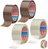 Tesa 2 rollos transparentes + 2 rollos de cinta adhesiva marrón – 50 mm x 66 m + cinta adhesiva gratis [15 mm x 10 m]