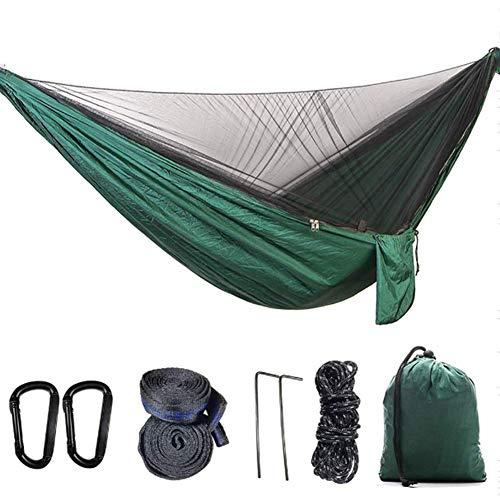 YP Hamaca de Viaje Ultraligera con mosquitero para Acampar 300kg de Capacidad de Carga Transpirable paracaídas de Secado rápido (270 * 140CM),Verde