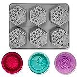 CNYMANY Lot de 4 moules à savon en silicone en forme de nid d'abeille 3D, moules pour muffins, cuisine, pâtisserie, gâteau, gelée, bombe à bain, bonbons et cupcakes– Gris