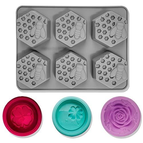 CNYMANY Silikon-Seifenformen, 3D-Bienenenwabenform, Muffin-Form, für Küche, Gebäck, Backform, für Kerzen, Kuchen, Jello, Badebombe, Süßigkeiten, Cupcake, Grau, 4 Stück