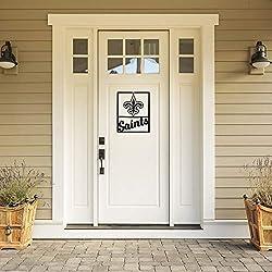 Littlearth NFL New Orleans Saints Unisex NFL New Orleans Saints Metal Team Sign, Black, 14 L x 11 W