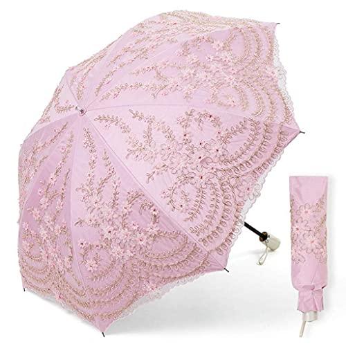 Paraguas de Encaje para Mujer Princesa sombrilla para el Sol protección Solar UV Lluvia Plegable Paraguas Plegable fácil de Llevar