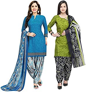 Rajnandini Women's Blue And Light Green Cotton Printed Unstitched Salwar Suit Material (Combo Of 2) (Free Size)