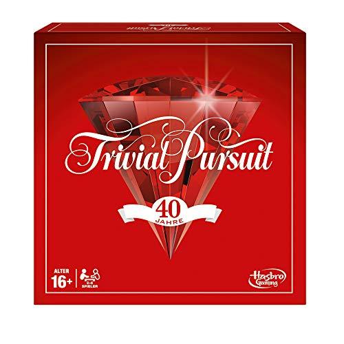 Hasbro Gaming E1923100 Trivial Pursuit 40 Jahre Jubiläumsausgabe, klassisches Familienspiel, Rot